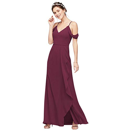 Off-The-Shoulder Bridesmaid Dress with Cascade Style F20010, Wine, 26