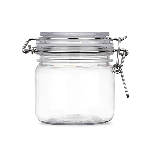 2Pcs 10 Oz300ml Clear Round Plastic Home Kitchen Storage Sealed Jar Bottles with Leak Proof Rubber and Hinged Lid for Herbs Spices Candy Gift Arts and Crafts Storage Multi-purpose Container
