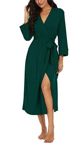 VINTATREWomenKimonoRobesLongKnitBathrobeLightweight SoftKnitSleepwearV-neckCasualLadiesLoungewear Dark Green-Large