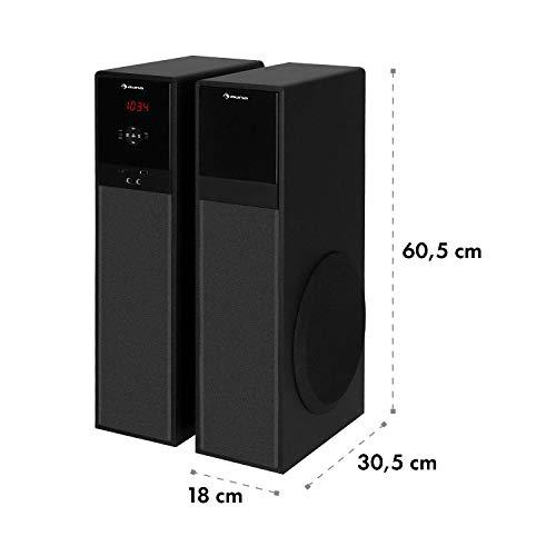auna Line 100 A 2.0 Standlautsprecher - 3-Wege-Lautsprecher, Bluetooth-Lautsprecher, 2 x 80 Watt, Höhe: 60,5 cm, USB, SD, UKW-Radiotuner, Stereo-Audio-Eingang, inkl. Fernbedienung, schwarz
