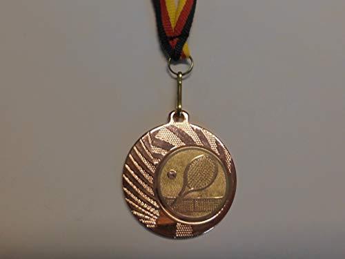 10 x Medaillen - aus Stahl 40mm - mit einem Emblem, Tennis - inkl. Medaillen Band - Farbe: Bronce - (e262)