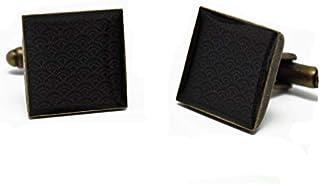 2 gemelli polsino bottoni resina seigaiha giapponese nero ottone regalo personalizzato noel compleanno matrimonio ospite u...