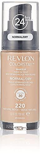 REVLON, Fondotinta Colorstay per pelli secche, flacone con dispenser, 30 ml, N° 220 Natural Beige