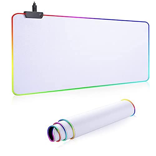 RGB Mousepad Led Mouse Pad, Large Mouse Pad,Led and Big Mouse mat(White)
