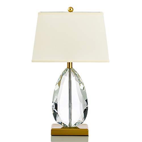 kerryshop Lámparas Transparente cristalino de la lágrima en Forma de lámpara de Mesa Moderna con Tela Blanca Sombra, adecuados for la cabecera del Dormitorio de la Sala de la Familia Lámpara de Mesa