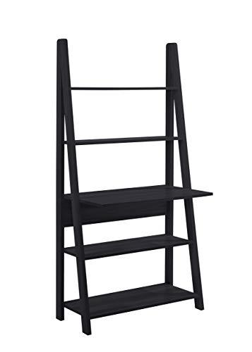 LPD Furniture Tiva - Estantería de escalera y escritorio - Estantería, unidad de TV, estantería, escritorio, color negro