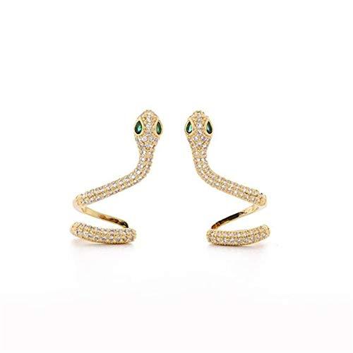 Snakes Pendientes Un par Pendientes para pendientes para mujer Snake Snake Pendientes de plata, Pendientes de pernos, Zirconia cúbica, Para cartílago, izquierda, derecha, de moda ( Color : Gold )