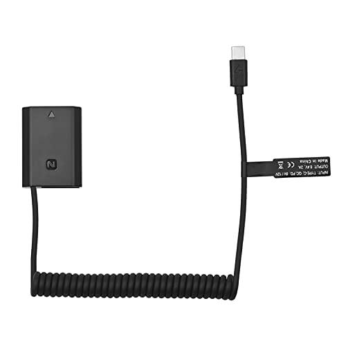 Baugger Adaptador de acoplador USB-C de bateria fictícia NP-FZ100 com cabo de alimentação de mola USB tipo C Substituição para câmeras Sony Alpha A6600 A7C A7III A7SIII A7RIII A7RIV A9 A9II A9R A9S