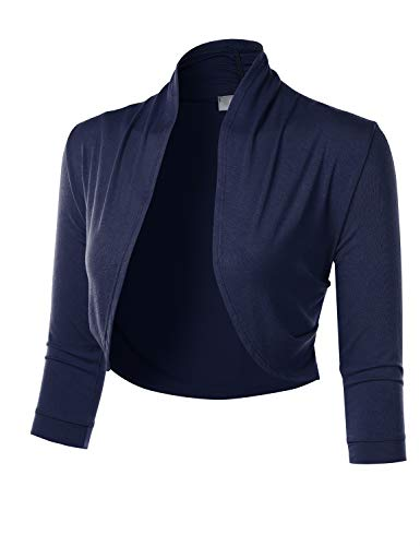FLORIA Women's 3/4 Sleeve Open Front Cropped Bolero Shrug Cardigan with Side Pleats Navy L