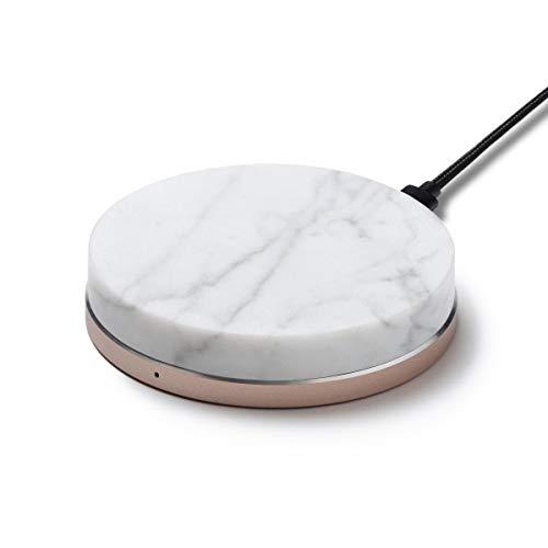 MRBL Wireless Charger Induktionsladegerät 15 W ECHTER MARMOR kabellose Ladestation Induktive Ladestation kompatibel mit iPhone (Rose Gold - Bianco Carrara)