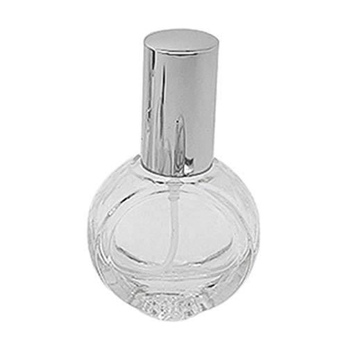 Ruby569y Bouteilles de voyage en silicone pour liquides, récipients vides 10 ml Transparent réutilisable Rechargeable Parfum Atomiseur en Verre Pompe Vaporisateur – Argent