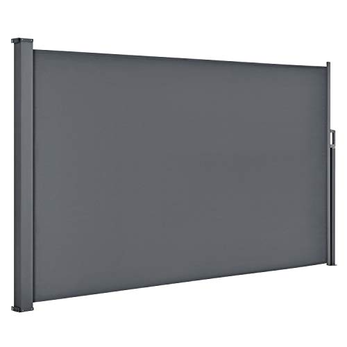 ArtLife Seitenmarkise Dubai 200 x 300 cm ausziehbar Blickdicht, Sichtschutz & Windschutz für Balkon & Terrasse, Seitenrollo mit Wandhalterung - grau