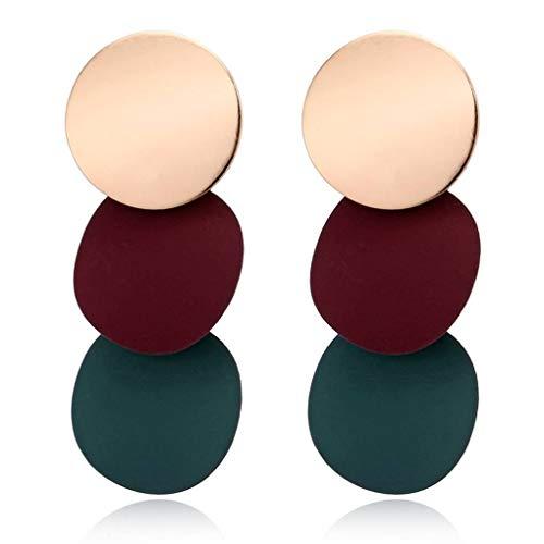 Bobury Las Mujeres Elegantes Pendientes desiguales Redondas de Metal Brillante geométrica de aleación de Zinc Earstud Regalo de la joyería del oído de 3 Colores