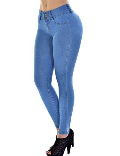 Legou, jeans da donna push up skinny elasticizzati - blu - 35W x 33L (3XL)