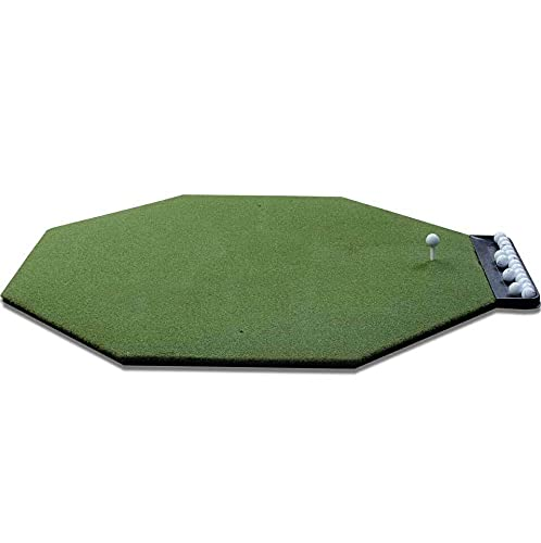 DURA-PRO Commercial Golf Mat - 5x5 Octagon Feet Premium Turf Indoor/Outdoor Mat for Hitting & Chipping - Golf Stance Mat for Pros & Beginners w/Golf Accessories (Golf Tray + 3 Rubber Golf Tees)