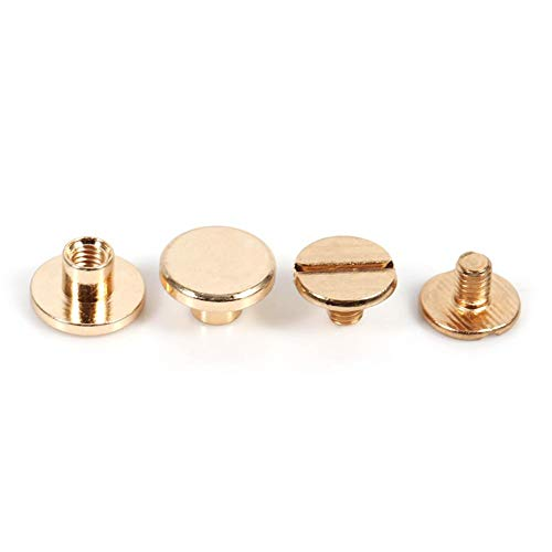 Junluck Unverlierbare Schraube Messingschraube, Schraubverschluss, Messingknopf, für Heimtextilgepäckschuhe Hüte(5mm)