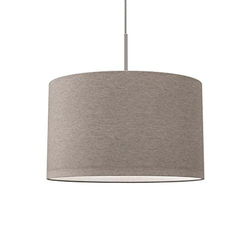 lampadario camera da letto tessuto B.K.Licht Lampada a sospensione in tessuto color grigio-talpa