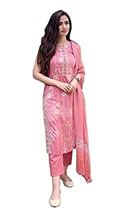 Tranum Fashion Straight Rayon Sleeveless Kurti with Pant and Dupatta for Women and Girls Printed (Medium) Pink