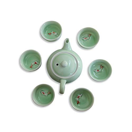 Chinesisches Kung-Fu-Tee-Set, handbemalt, Porzellan, 6 Tassen mit Teekanne), grüne Teetassen, Koi-Fisch-Design