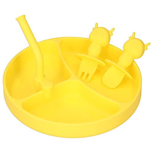 Zerodis Plato de Cena Dividido para bebés, Antideslizante para niños vajilla de Silicona para alimentación automática con Ventosa Mantel Individual de succión para bebés niños y niños(Amarillo)