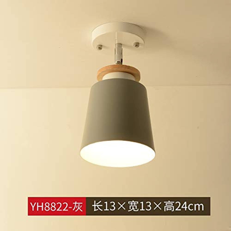 Agorl Nordic Aisle Deckenleuchte moderne minimalistische Massivholzflurlampe Balkonzimmerbeleuchtung, weinrot YH8822-grau + warmes Licht