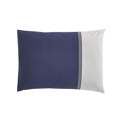 Essix Toi&Moi Zahara Taie d'oreiller Coton/Percale de coton Bleu 70 x 50 cm