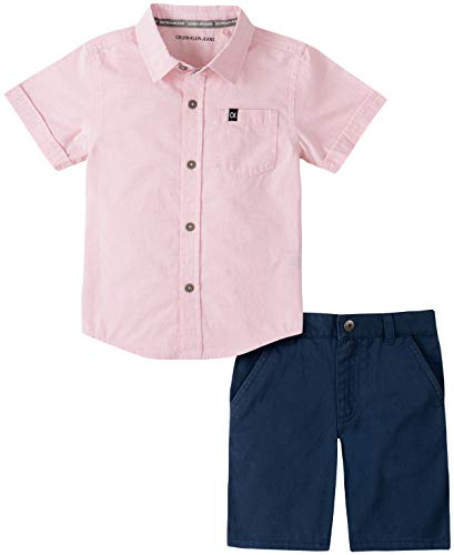 Calvin Klein Boys' 2 Pieces Shirt Shorts Set, Pink/Navy, 3T