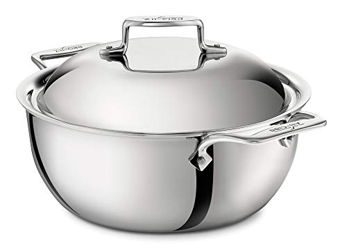 All-Clad BD55500 D5 Brushed 18/10 Stainless Steel 5-Ply Bonded Dishwasher Safe Dutch Oven with Domed Lid