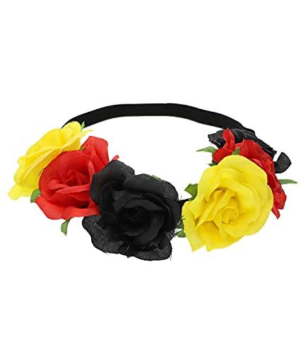 SIX Deutschland elastisches Haarband mit Blüten, Fanartikel, Accessoire zur Europmeisterschaft, Nationalelf, Rot Schwarz Gold (456-875)