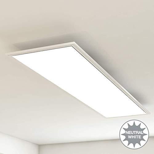 Briloner Leuchten Deckenleuchte-Panel, LED, Wohnzimmer-Lampe, Deckenlampe, Deckenstrahler, 38W, Rechteckig Weiß, 119.5 cm