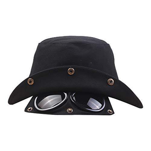 fuwahahah 2 in 1 Unisex Baumwolle Bucket Cap mit Piloten-Sonnenschutz Fischerhut