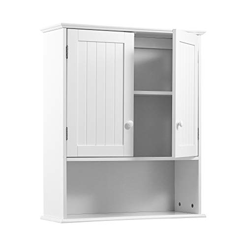 Kealive Bathroom Wall Cabinet, 7'' Deep Wall Mounted Cabinet with Double Door and Adjustable Shelf, Wood Hanging Storage Cabinet Space Saver for Home Collection, White, 23.2L x 7.9W x 24.8H