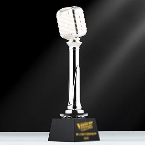 Aangepaste Trofee Goud Microfoon Metalen Crystal Trophy Prijs Gift Zingen Spraak Competitie Muziek Festival Host Celebration Ontwerp Lettering
