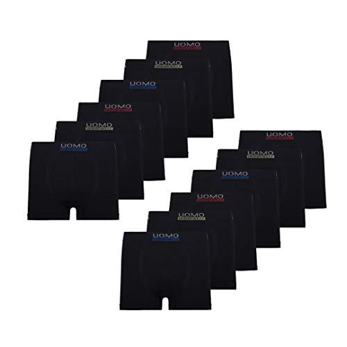 Mikrofaser Boxershorts Herren Unterhosen Männer 12er Pack, M, Mikrofaser 12er Pack Schwarz