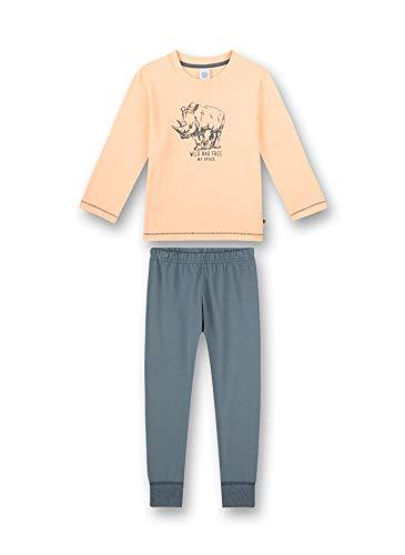 Sanetta Jungen Schlafanzug lang rosa Pyjamaset, neon Melon, 140