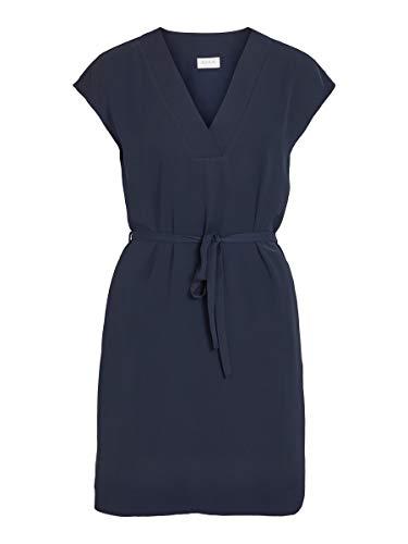 Vila Clothes Damen VIJAHULA S/S Belt Dress/SU Kleid, Navy Blazer, 36