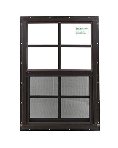 """Shed Window 18"""" X 27"""" Brown Flush Mount, Safety/Tempered Glass Storage Shed, Playhouse"""
