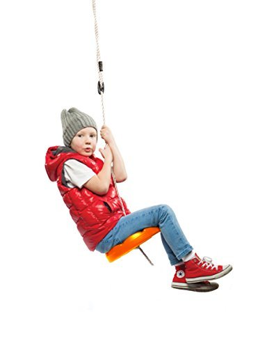 SUMMERSDREAM Disk Swing Red Seat Rope Tree Monkey Swing