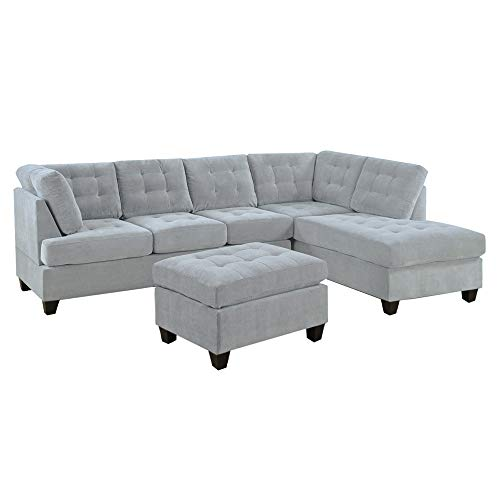 Casa Andrea Milano LLC 3 Piece Modern Tufted Micro Suede L Shaped Sectional Sofa Couch with Reversible Chaise & Ottoman, Large, Ash