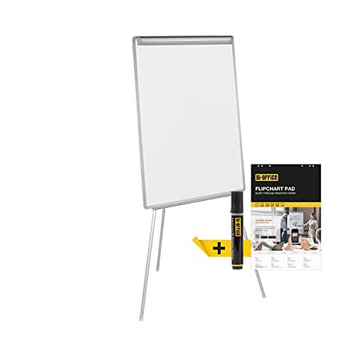 Bi-Office Easy - Pizarra Magnética con Caballete de Trípode, marco gris, Pizarra A1-60 x 85 cm, para rotafolios, suministrado con Bloc de papel y Rotulador
