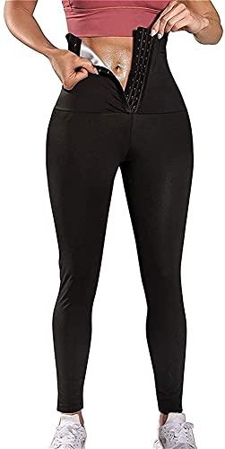 Pantalones De Chándal Para Mujer, Leggings Pantalones De Sauna Cintura Alta Pérdida De Peso Scrunch Body Adelgazante Pantalones Deportivos Para Fitness Deportes Yoga ( Color : Black , Size : X-Large )