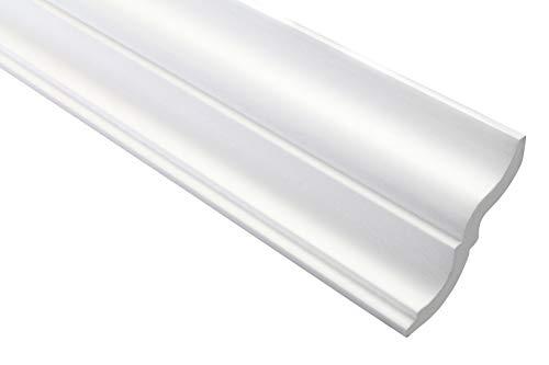 Zierleiste E-20   leicht und stabil   extrudiertes Styropor   Stuckprofil   Decken-/ und Wandübergang   modern weiß   dekorativ   XPS   65 x 60 mm   2 Meter