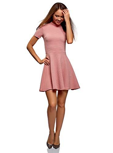 oodji Ultra Mujer Vestido de Tejido Texturizado con Parte Inferior Acampanada, Rosa, ES 42 / L