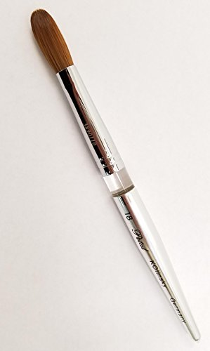 Petal Kolinsky Silver Handle Acrylic Nail Brush Manicure Powder SIZE #18 (CRIMPED)