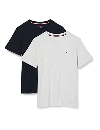 Tommy Hilfiger 2-Pack Short Sleeve Camiseta, Niños, Multicolor (Ice Grey Heather/Desert Sky),...