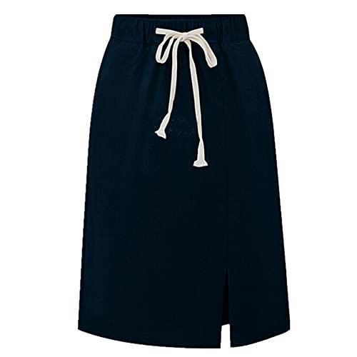 NP Algodón Mujeres Faldas Falda Causal de gran tamaño para las mujeres de cintura alta línea causal