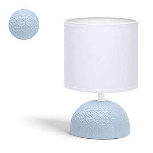 Aigostar - Lámpara de mesa, patrón de diamante, cuerpo de diseño sencillo color azul, pantalla de tela color blanco, Lámpara de cerámica E14. Perfecta para el salón, dormitorio o recibidor. H24cm