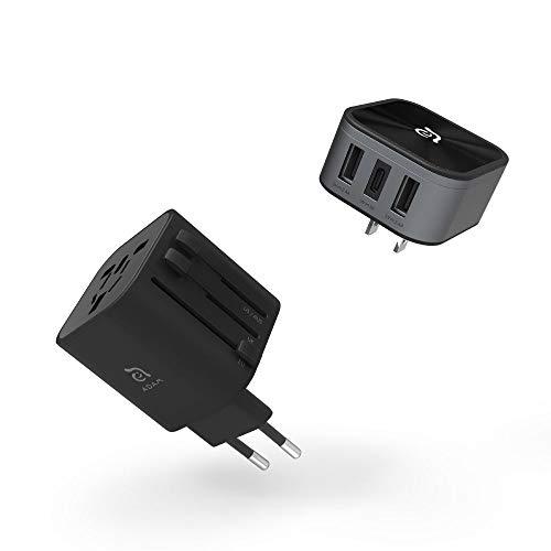 Adam Elements Omnia T3 Travel Adapter Universele reisadapter oplader twee USB-A 2.4A een USB-C 3A poorten voor stopcontacten US, UK, EU, AU-normen zwart