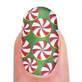 Nagelfolien grün mit rot-weißen Punkten, 16 Folien, selbstklebend
