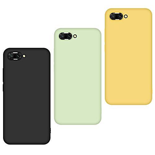 JiatuA 3 x Funda Honor 10, Carcasa Honor 10 Silicona TPU Gel Protector Flexible Cover para Honor 10 Slim Líquido de Silicona Gel Carcasa (Negro, Verde, Amarillo)